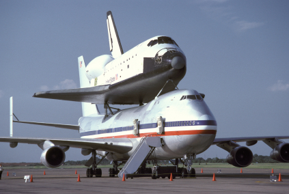 Piggy-Back Space Shuttle On Ground At 45 Degree Angle